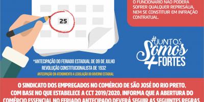 imagem - ANTECIPAÇÃO DO FERIADO EM SÃO JOSÉ DO RIO PRETO