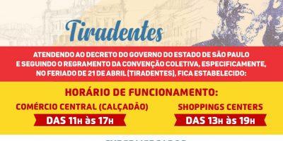 Feriado Tiradentes: Veja como fica o horário de funcionamento do Comércio em Rio Preto